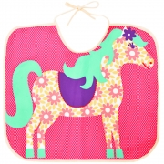Babador Little Horse Infantil Pink com Cavalinho Floral