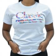 Blusinha Feminina Classic Branca Texas-USA com Strass Manga Curta