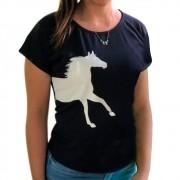Blusinha Feminina Mãe e Filha Azul Marinho Cowboys com Cavalo