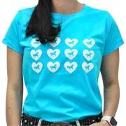 Blusinha Feminina Mãe e Filha Azul Turquesa Cowboys Cavalos e Corações
