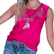Blusinha Feminina Mãe e Filha Pink Cowboys Cavalo e Arabescos Cinza