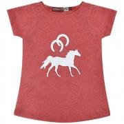 Blusinha Feminina Mãe e Filha Vermelha Mescla Cowboys Cavalo e Ferraduras