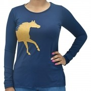 Blusinha Feminina Manga Longa Cowboys Azul Cavalo Dourado Proteção UV