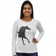 Blusinha Feminina Manga Longa Cowboys Branca Proteção UV Emily