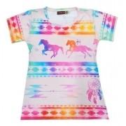Blusinha Infantil Cowboys Mãe & Filha Cavalos Coloridos