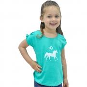 Blusinha Infantil Mãe e Filha Turquesa Mescla Cowboys Cavalo e Ferraduras