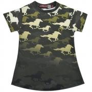 Blusinha Infantil Mãe e Filha Verde Militar Cowboys com Cavalos