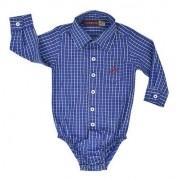 Body Camisa Infantil Cowboys Xadrez Azul e Cinza