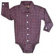 Body Camisa Infantil Pai, Mãe e Filho Cowboys Xadrez Vermelho, Azul e Branco