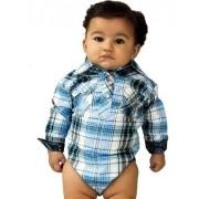 Body Camisa Infantil Importado Xadrez Azul e Preto