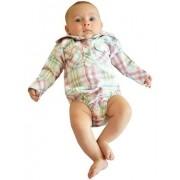 Body Camisa Infantil Importado Xadrez Branco, Rosa e Verde