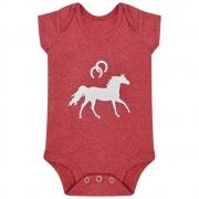 Body Infantil Cowboys Mãe e Filha Vermelho Mescla Cavalo e Ferraduras