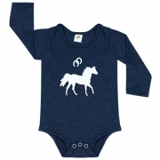 Body Infantil Cowboys Manga Longa Azul Marinho Cavalo e Ferraduras