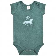 Body Infantil Cowboys Verde Mescla Cavalo e Ferraduras