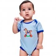 Body Infantil Importado Azul Cavalinho com Rodas