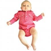 Body Camisa Infantil Importado Rosa Poá Branco