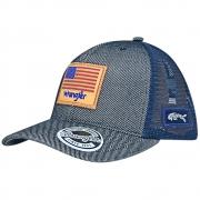Boné Wrangler 20x Bandeira USA Cinza com Tela Azul
