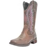 Bota Feminina Cowboys Bico Quadrado Mãe e Filha Marrom com Florão Texana