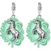 Brinco Feminino Cowboys Fivela Luxo Horse Turquesa