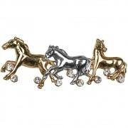 Broche Cavalos Prata com Strass e Dourado Liso