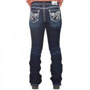 Calça Feminina Grace In LA Jeans Flare Escura com Bordado