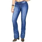 Calça Jeans Feminina Nacional Stonada com Arabescos
