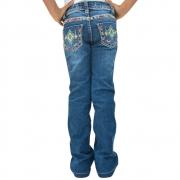Calça Jeans Infantil Feminina Cowboys Flare Com Bordado