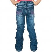Calça Jeans Infantil Feminina Cowboys Flare Com Strass Rosa e Laços