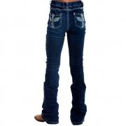 Calça Jeans Infantil Mãe e Filha West Dust Flare Bordado e Pedras Furta-Cor