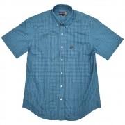Camisa Cowboys Manga Curta Xadrez Azul, Preto e Branco