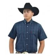 Camisa Cowboys Manga Curta Xadrez Laranja, Roxo e Azul