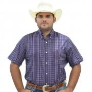 Camisa Cowboys Manga Curta Xadrez Roxo Escuro e Vermelho