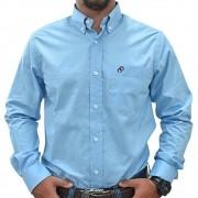 Camisa Cowboys Manga Longa Lisa Azul Claro