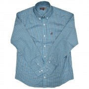 Camisa Cowboys Manga Longa Xadrez Azul e Branco