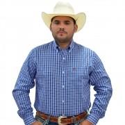 Camisa Cowboys Manga Longa Xadrez Azul e Rosa