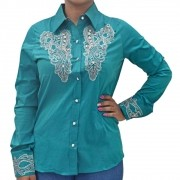 Camisa Feminina Lisa Azul Petróleo com Strass Manga Longa