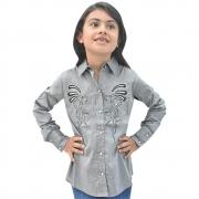 Camisa Infantil Mãe e Filha Lisa Cinza com Bordado Manga Longa