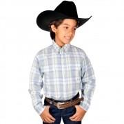 Camisa Manga Longa Infantil Xadrez Azul Roper