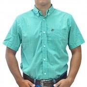 Camisa Cowboys Manga Curta Pai e Filho Xadrez Verde, Preto e Branco