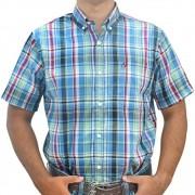 Camisa Cowboys Manga Curta Xadrez Azul, Verde e Preto