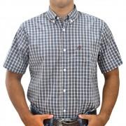 Camisa Masculina Xadrez Marrom, Azul e Bege Cowboys Manga Curta