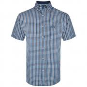 Camisa Wrangler Manga Curta Xadrez Azul e Laranja