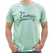 Camiseta Masculina Pai e Filho Cowboys Verde Água Mescla 1993 Ferraduras