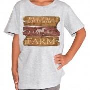 Camiseta Infantil Cowboys Cinza Cavalo e Frases