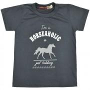 Camiseta Infantil Pai e Filho Cinza Grafite Cowboys Horseaholic