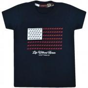 Camiseta Infantil Pai e Filho Azul Marinho Cowboys Bandeira USA