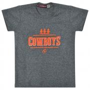 Camiseta Infantil Pai e Filho Cinza Mescla Cowboys Cavaleiros e Ferraduras