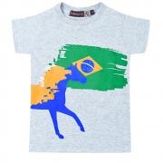 Camiseta Infantil Pai, Mãe e Filho Cinza Mescla Cowboys Pátria Amada