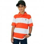 Camiseta Polo Infantil Wrangler Listrada Laranja e Branco