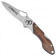 Canivete Cowboys Metalizado Inox Madeira com Presilha de Bolso